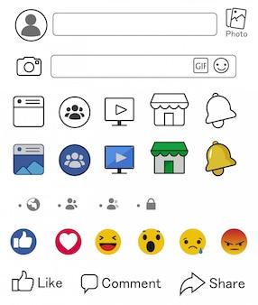 Ícones do facebook e componentes de telas de mídia social