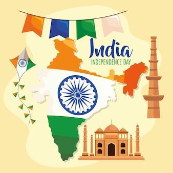 Ícones do feliz dia da independência da índia