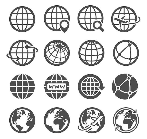 Ícones do globo terrestre. planeta esférico do mapa mundial, contorno do continente de geografia, símbolos do vetor do logotipo do turismo de comunicação global da órbita do mundo. pesquisa na internet, pictogramas de avião voando