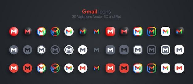 Ícones do gmail definidos em 3d moderno e plano em diferentes variações
