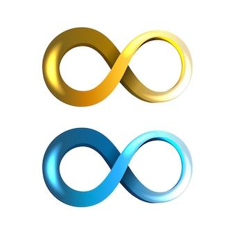 Ícones do infinito azuis e amarelos isolados