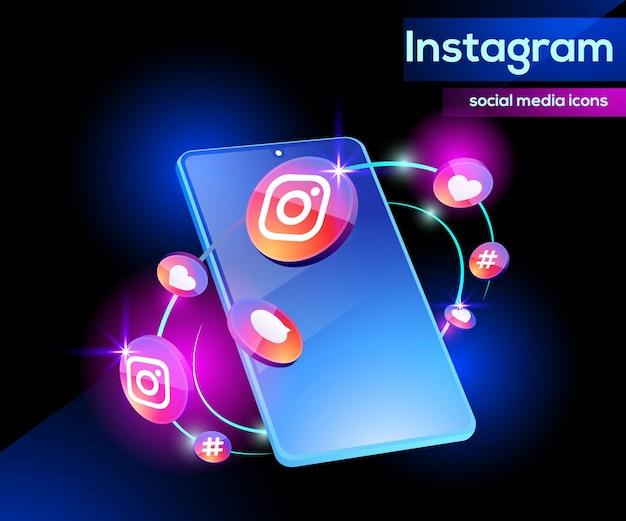 Ícones do logotipo 3d do instagram sofisticados com smartphone