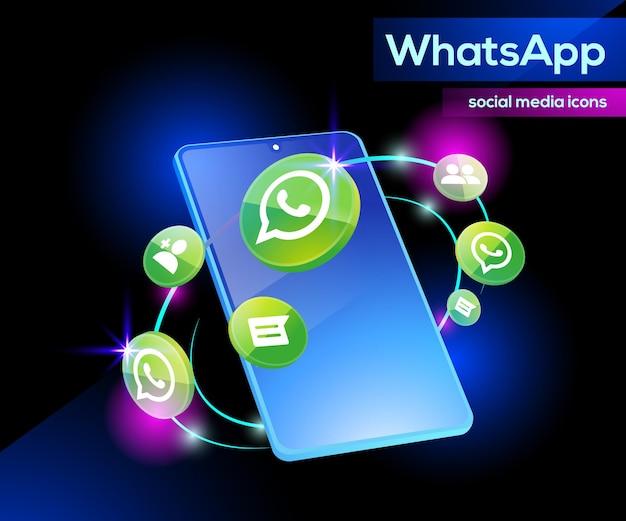 Ícones do logotipo 3d do whatsapp sofisticados com smartphone