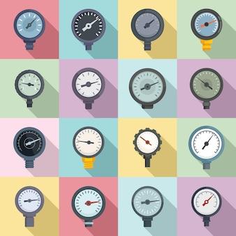 Ícones do manômetro definir vetor plano. medidor de pressão. manômetro de leitura