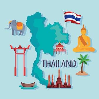 Ícones do mapa e da tailândia