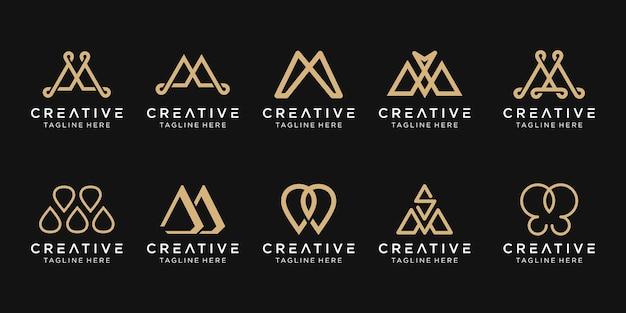 Ícones do modelo do logotipo da letra m do monograma para negócios de luxo da moda simples