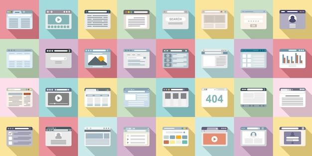 Ícones do navegador definir vetor plana. janela do computador. barra de seta do navegador