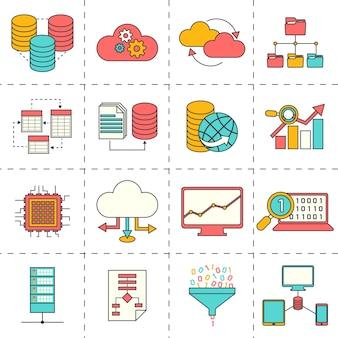 Ícones do negócio em design plano