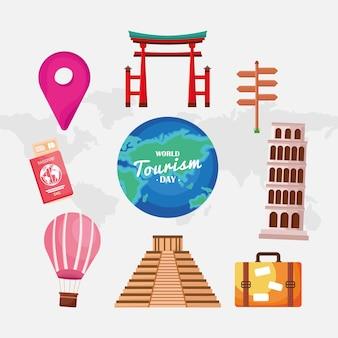 Ícones do nove do dia do turismo