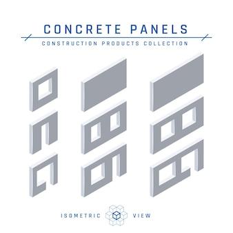 Ícones do painel de concreto, vista isométrica.