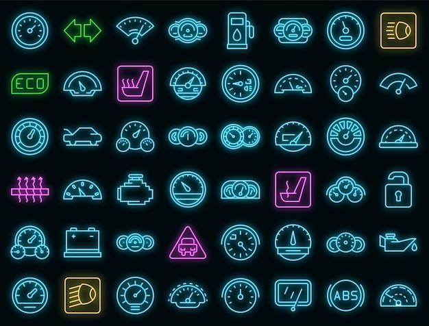 Ícones do painel do carro configurados com néon vetorial
