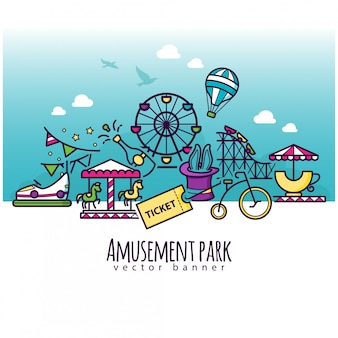 Ícones do parque de diversões, modelo de banner de atração