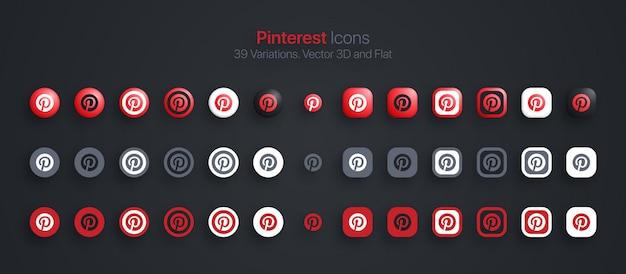 Ícones do pinterest definidos em 3d moderno e plano em diferentes variações