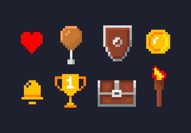 Ícones do pixel espada baú do tesouro poção mágica coração vermelho tocha de fogo moeda de ouro