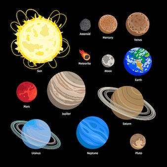 Ícones do planeta sistema solar em estilo simples