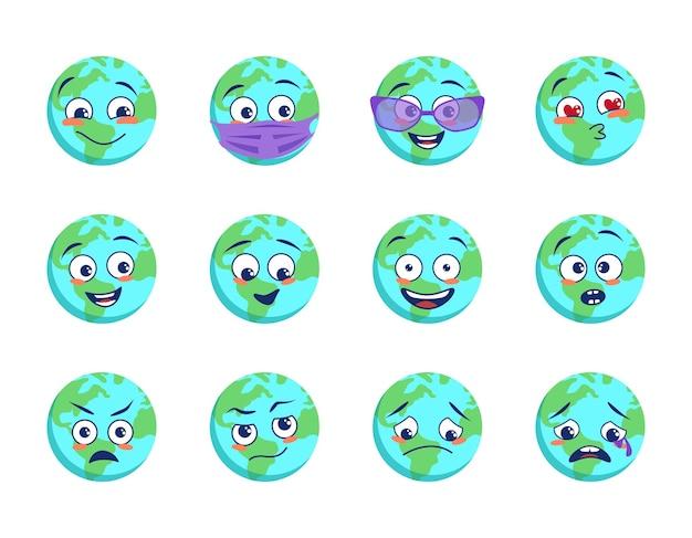 Ícones do planeta terra com máscara médica e óculos de proteção de diferentes emoções