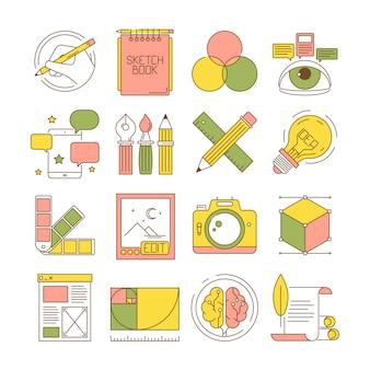 Ícones do processo de design. arte e embalagem produtos e serviços da web criativos para retocar fotos retas estacionárias