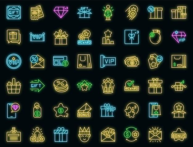 Ícones do programa de fidelidade do cliente definem néon vetorial