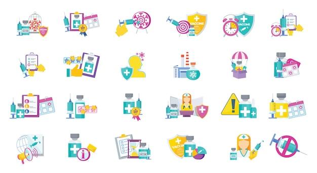 Ícones do programa de vacinação. fabricação e entrega, qualidade.