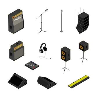 Ícones do sistema de som isométrico