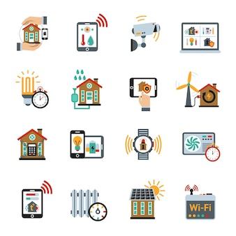 Ícones do sistema de tecnologia de casa inteligente