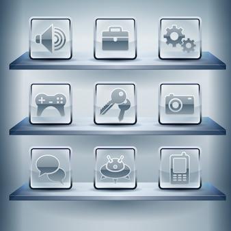 Ícones do site da internet, botão de vidro transparente