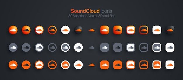 Ícones do soundcloud definidos em 3d moderno e plano em diferentes variações