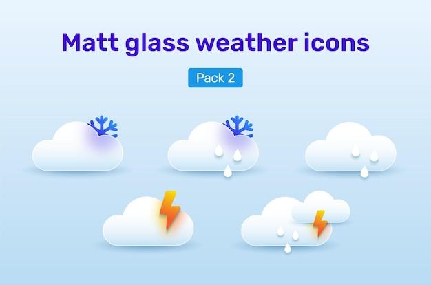 Ícones do tempo definidos no estilo glassmorphism. pack 2