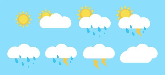 Ícones do tempo, nuvens, sol, chuva, trovoada, gráficos vetoriais