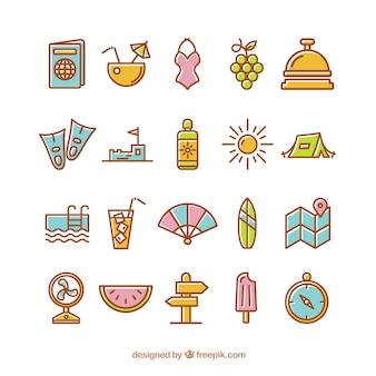 Ícones do verão no estilo bonito de