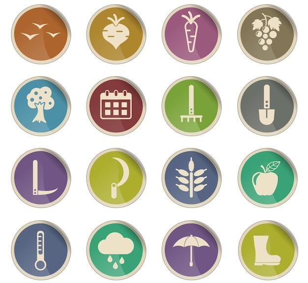 Ícones do vetor autmn na forma de etiquetas de papel redondas