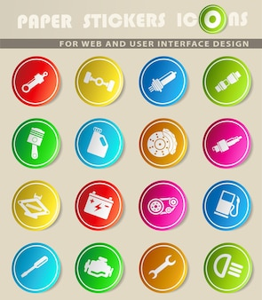Ícones do vetor auto service em adesivos de papel colorido