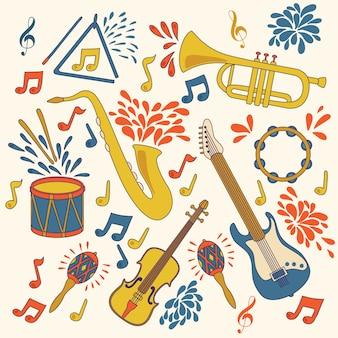 Ícones do vetor com instrumentos musicais