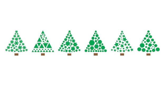 Ícones do vetor da árvore de natal com formas geométricas estilizadas. ilustração do feriado