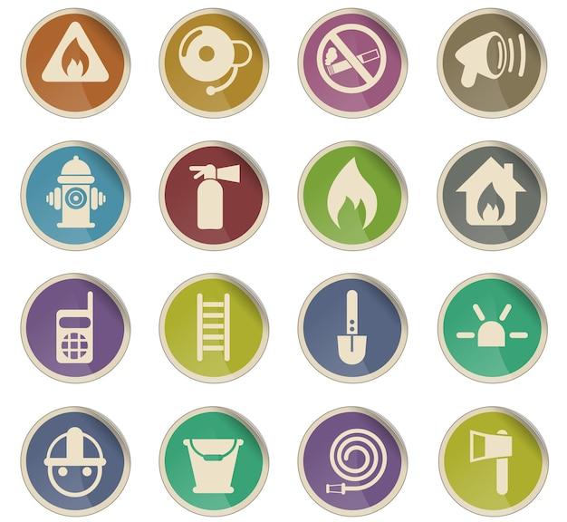 Ícones do vetor da brigada de incêndio na forma de etiquetas redondas de papel