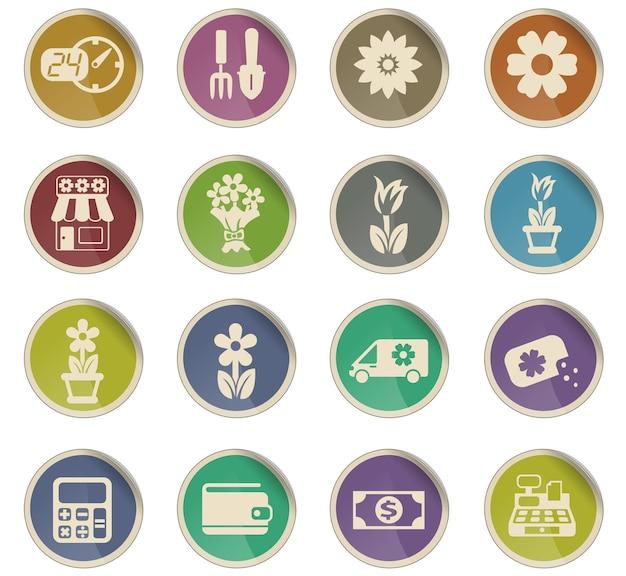 Ícones do vetor da loja de flores na forma de etiquetas redondas de papel