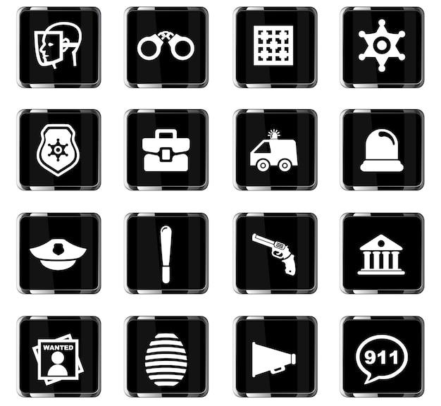 Ícones do vetor da polícia para o design da interface do usuário