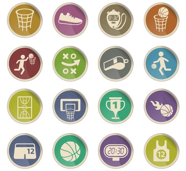 Ícones do vetor de basquete na forma de etiquetas redondas de papel