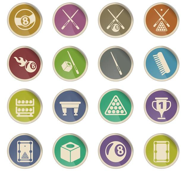 Ícones do vetor de bilhar na forma de etiquetas redondas de papel