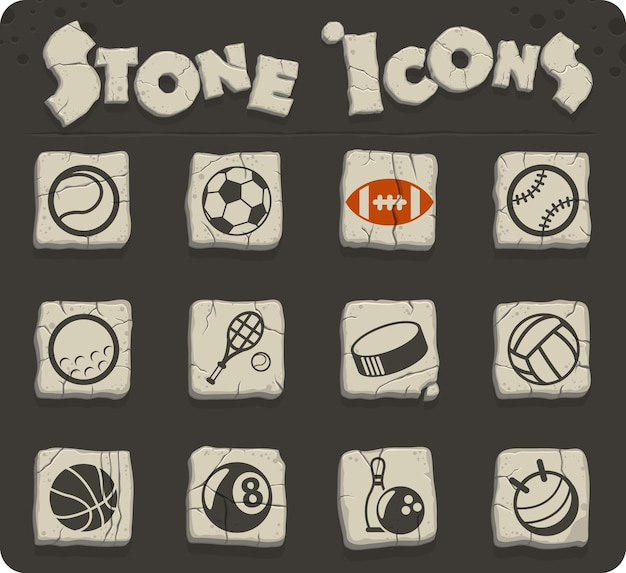 Ícones do vetor de bolas esportivas para web e design de interface de usuário