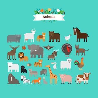 Ícones do vetor de design plano de animais
