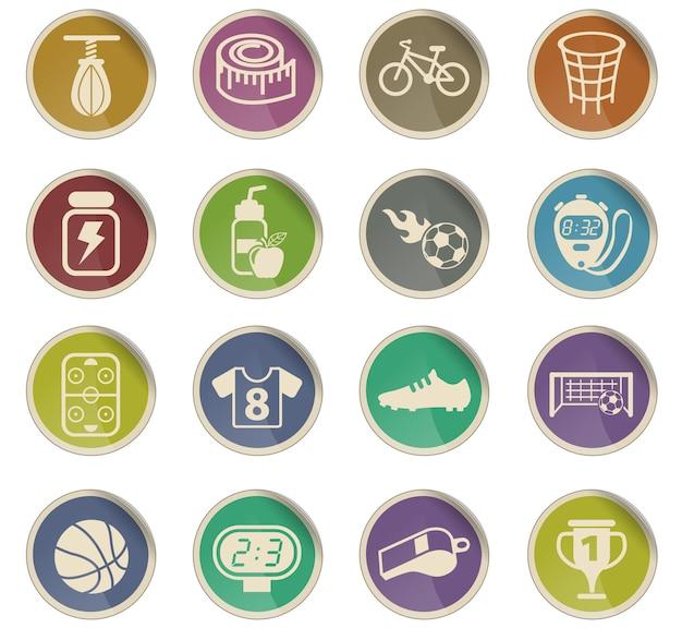 Ícones do vetor de esporte na forma de etiquetas de papel redondas