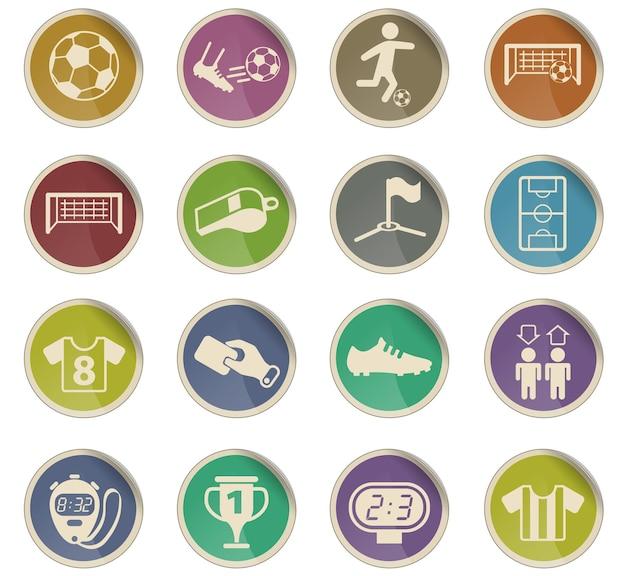 Ícones do vetor de futebol na forma de etiquetas redondas de papel