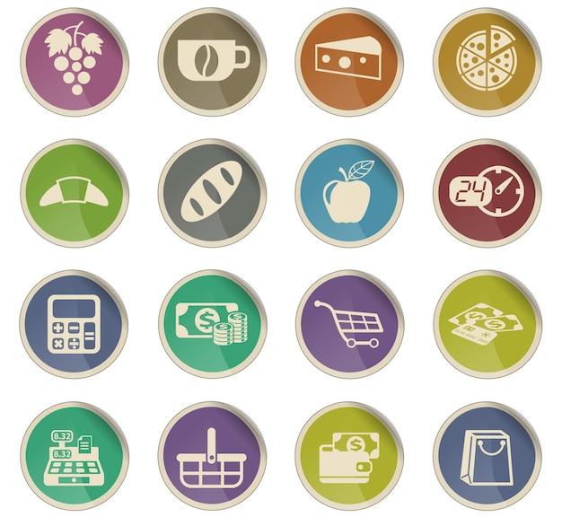 Ícones do vetor de mercearia na forma de etiquetas redondas de papel