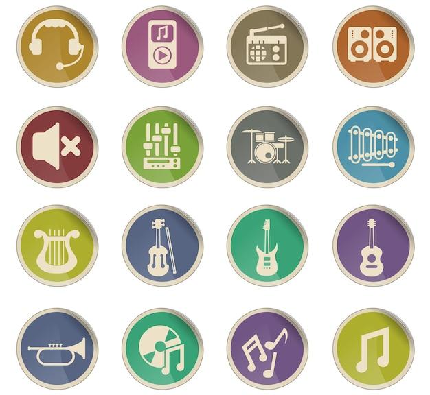 Ícones do vetor de música na forma de etiquetas de papel redondas