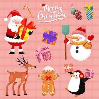 Ícones do vetor de natal ilustração da decoração de ano novo de cristãos de natal