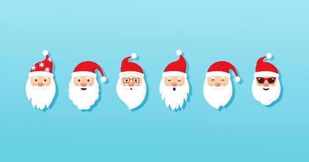 Ícones do vetor de papai noel de natal, personagem de desenho animado, chapéu de papai noel vermelho