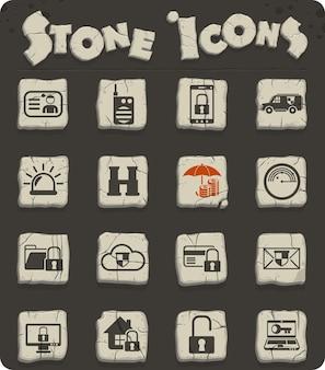 Ícones do vetor de segurança em blocos de pedra no estilo da idade da pedra