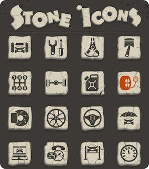 Ícones do vetor de serviço de carro em blocos de pedra no estilo da idade da pedra