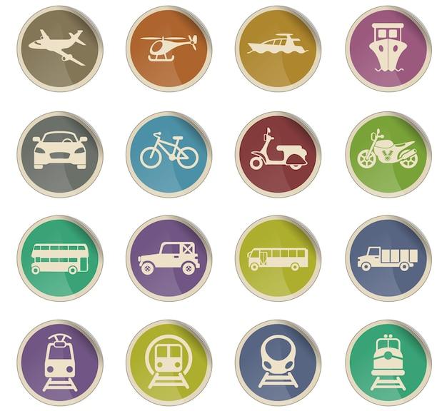 Ícones do vetor de transporte na forma de etiquetas de papel redondas